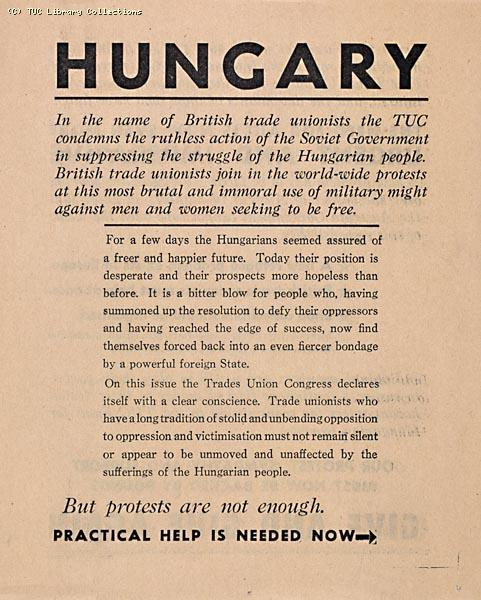 Hungary - TUC leaflet, 1956 (front)