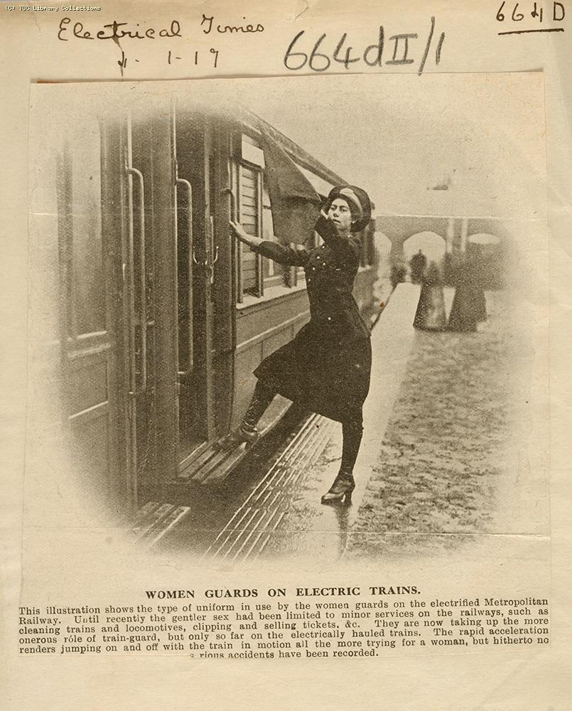 Women guards on electric trains, 1917