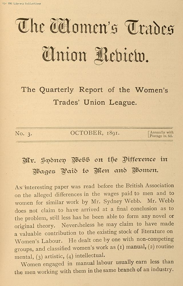 Sidney Webb and equal pay, 1891