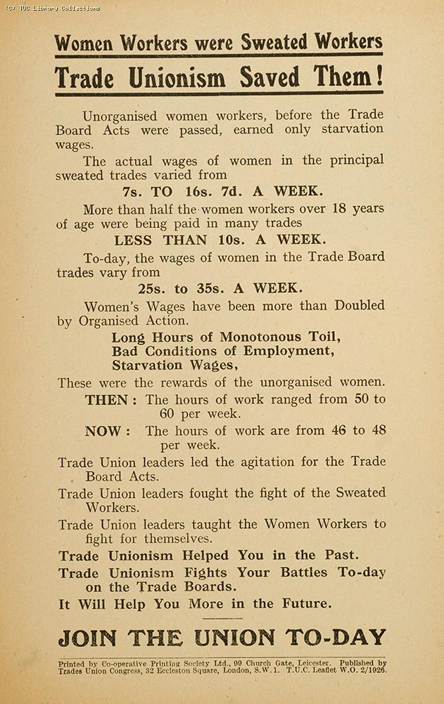 Women workers were sweated workers - TUC leaflet, 1926