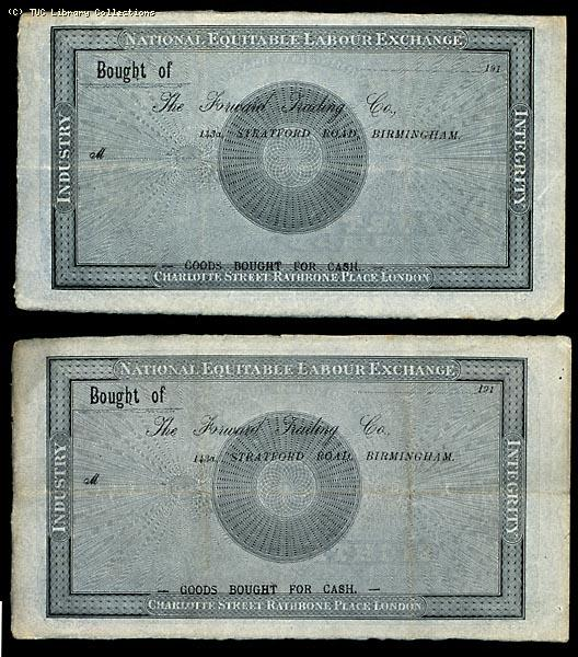 National Equitable Labour Exchange notes, 1832 (reverse)