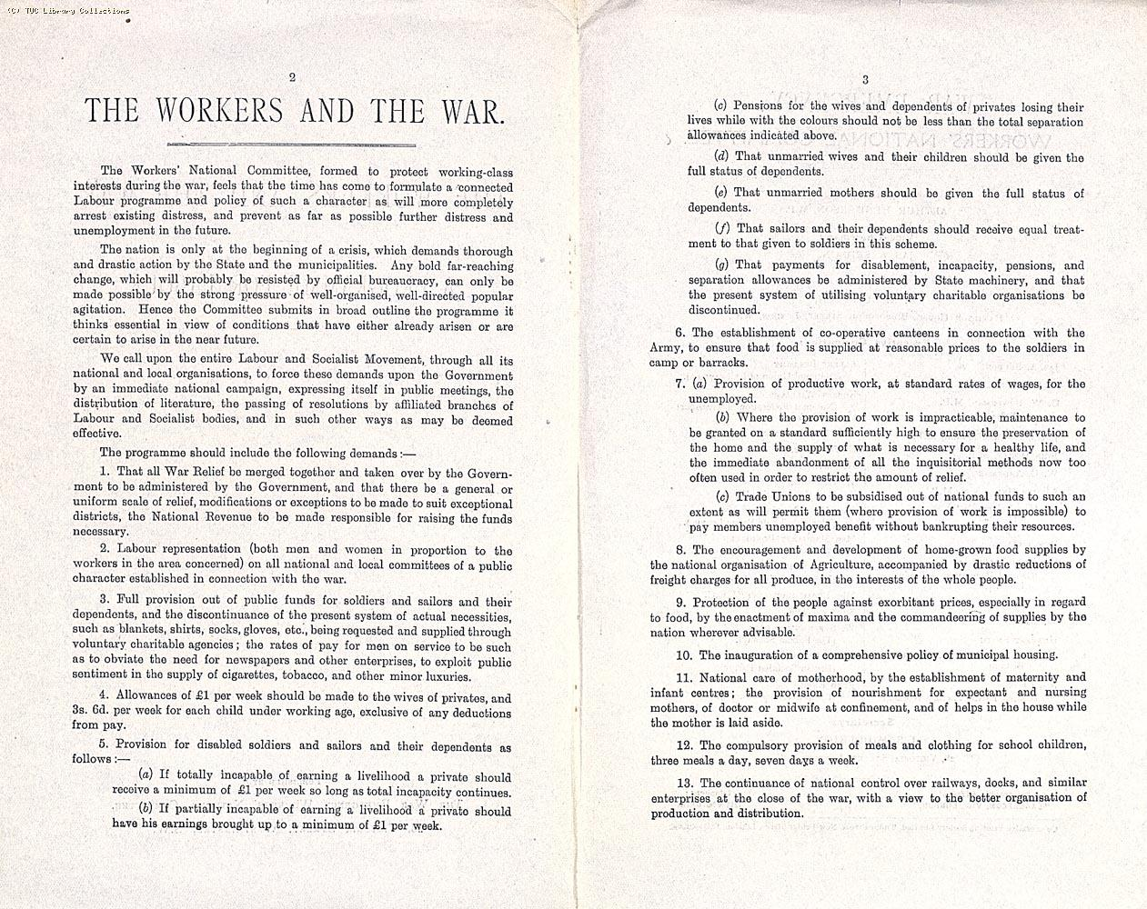 'The Workers and the War: a Programme for Labour' was written by Sidney Webb and distributed by the War Emergency Workers' National Committee (WEWNC) in 1914
