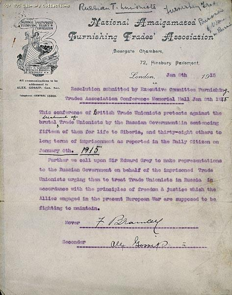 Letter protesting at imprisonment of 15 trade unionists in Russia, 1915