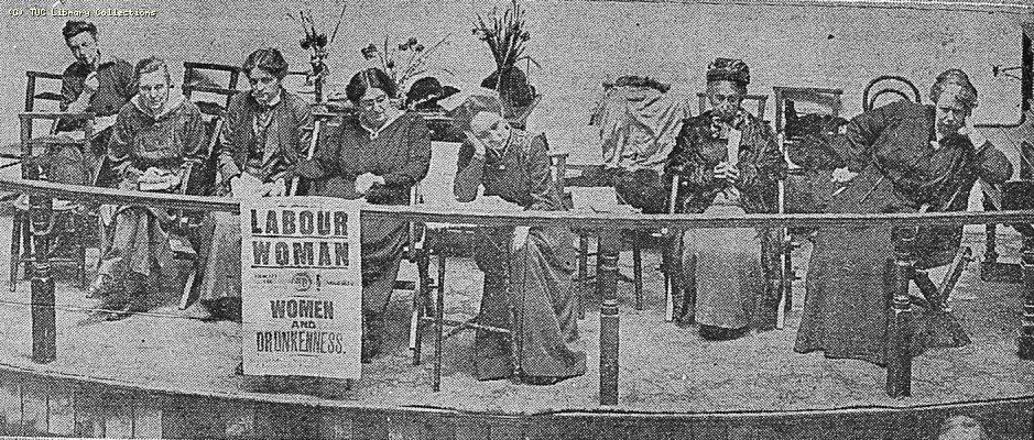 Photograph from the 'Daily Graphic' 26 January, 1916 of the platform at the annual conference of the Women's Labour League in Bristol