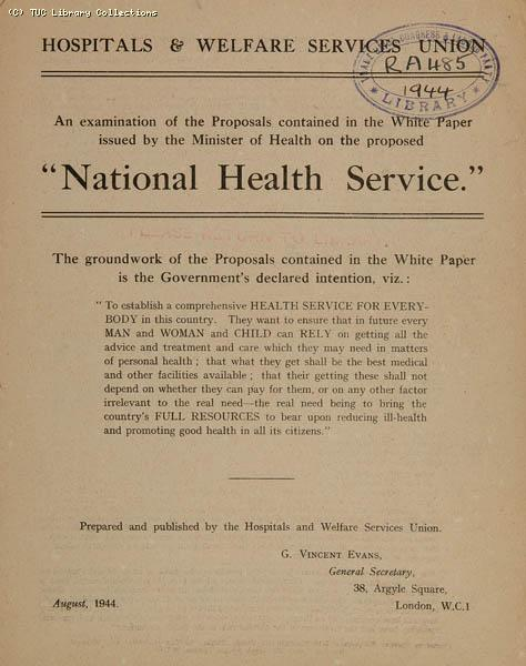 National Health Service proposals, 1944