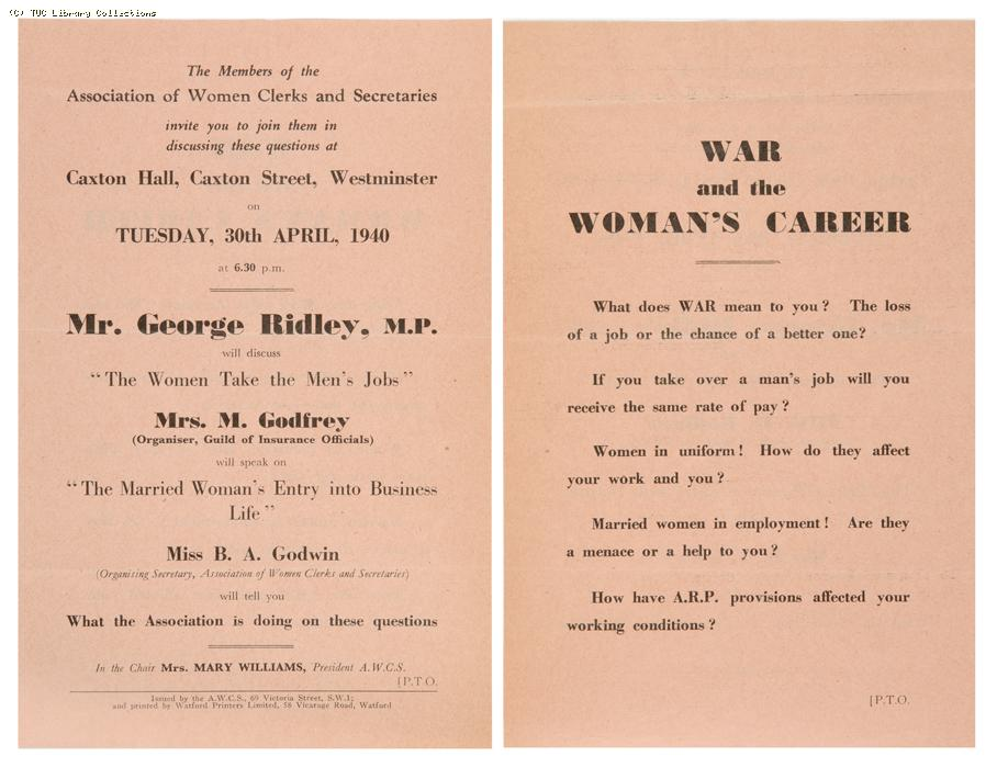 'War and the Woman's Career', 1940