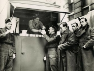 Soldiers enjoying tea at TUC mobile canteen, 1940